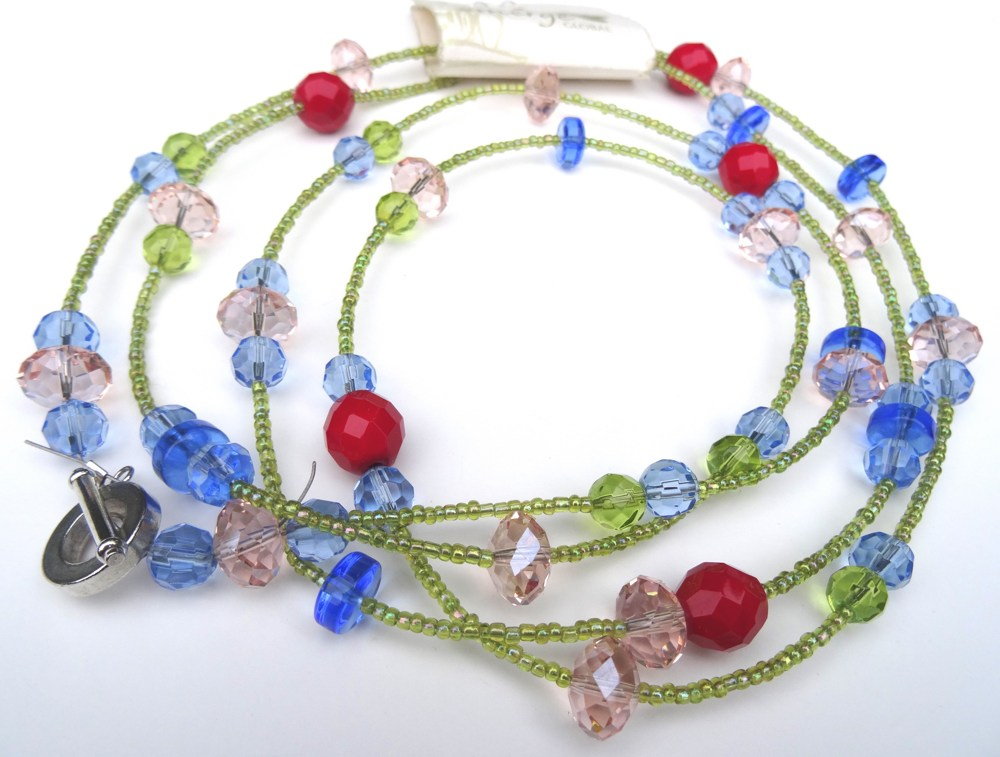 product pink blue green red necklace emerge beads neckless yellow global